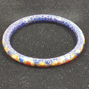 Cloisonne Bangle Bracelet Blue Floral Enamel
